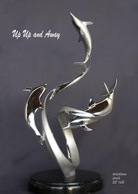 """Up, Up & Away"" - StainlessBronze and Stainless Sculpture by Scott Hanson - Marine Wildlife Sculpture - Bronze and Stainless Ocean themed Sculpture by Scott Hanson -"