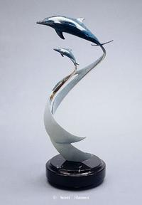 """Sails and Tails""Bronze and Stainless Sculpture by Scott Hanson - Marine Wildlife Sculpture - Bronze and Stainless Ocean themed Sculpture by Scott Hanson -"