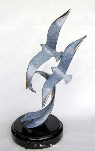 """Wind Surfing"" - Bronze Sculpture 15"" Tall -Marine Wildlife Sculpture Bronze and Stainless Ocean themed Sculpture by Scott Hanson - Bronze and Stainless Sculpture by Scott Hanson"