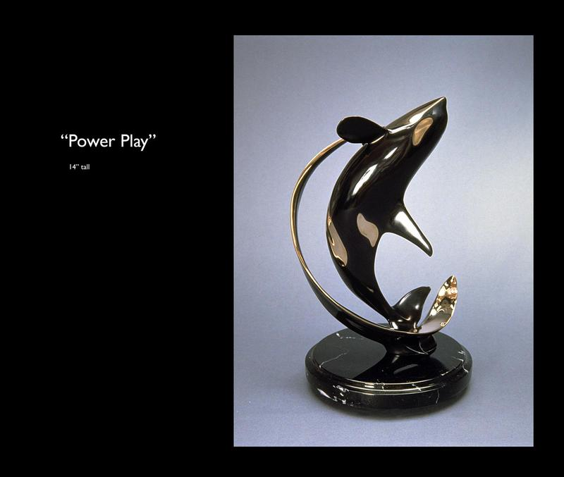 """Power Play"" -Marine Wildlife Sculpture Bronze and Stainless Ocean themed Sculpture by Scott Hanson - Bronze and Stainless Sculpture by Scott Hanson"