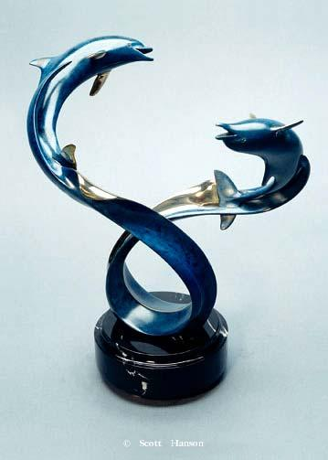 """Chase"" - Bronze Sculpture 14"" Tall -Marine Wildlife Sculpture Bronze and Stainless Ocean themed Sculpture by Scott Hanson - Bronze and Stainless Sculpture by Scott Hanson"