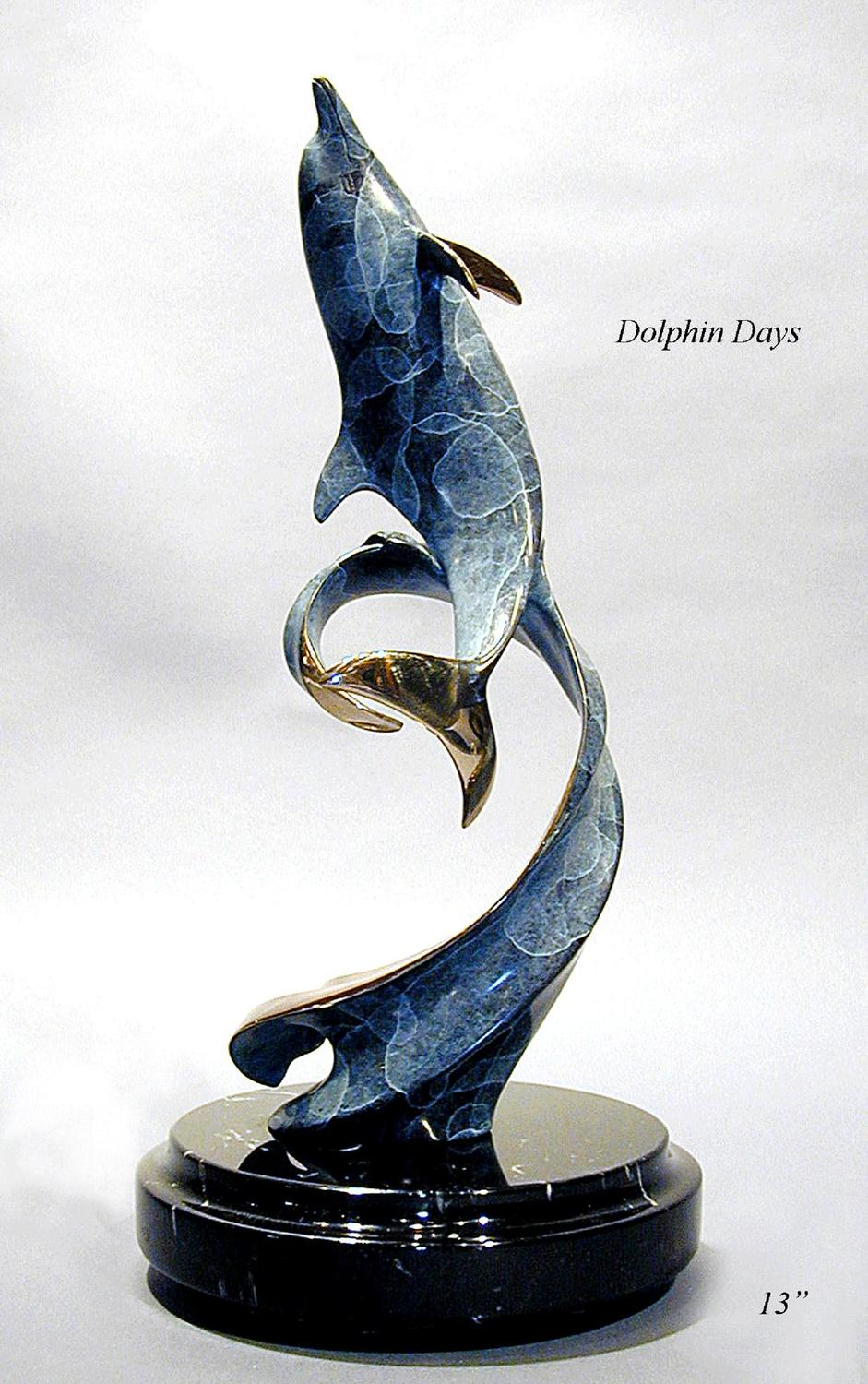 """Dolphin Days"" - Bronze Sculpture 13"" Tall -Marine Wildlife Sculpture Bronze and Stainless Ocean themed Sculpture by Scott Hanson - Bronze and Stainless Sculpture by Scott Hanson"