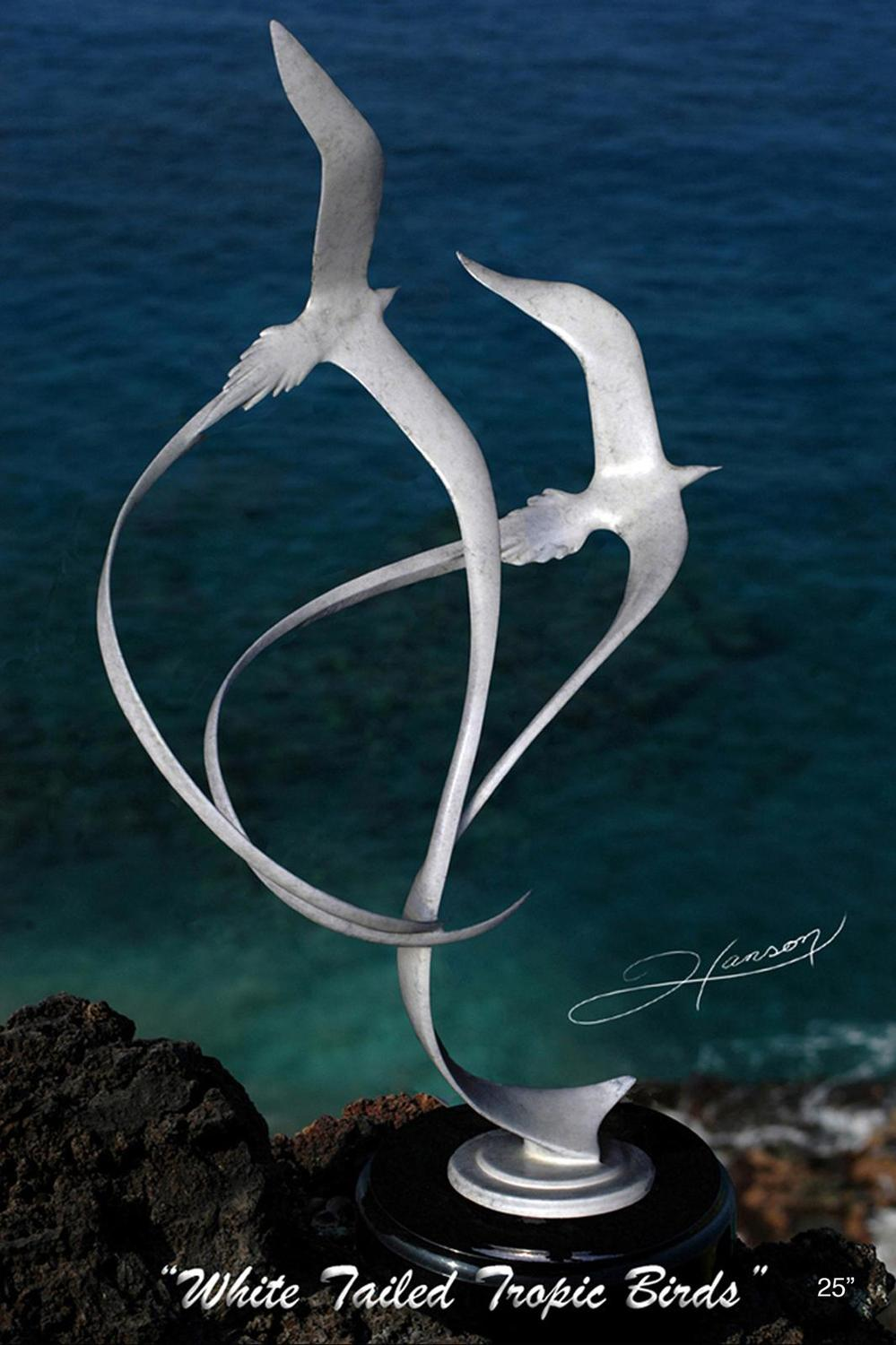 """White Tailed Tropic Birds"" -Marine Wildlife Sculpture Bronze and Stainless Ocean themed Sculpture by Scott Hanson - Bronze and Stainless Sculpture by Scott Hanson"