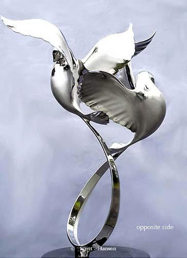 """Rhapsody"" - Stainless Steel Sculpture 25.5"" x 18"" -Rhapsody sculpture ""Rhapsody"" - Sea Birds Sculpture by Scott Hanson - ""Rhapsody"" - Sea Birds by Scott Hanson"""